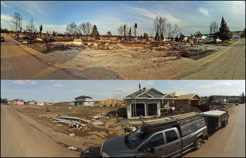 A panoramic view of the homes on 9th St. SE in Slave Lake, Alta. on May 23, 2011 (top) and May 2, 2012 (bottom). Nearly one-year after after a wildfire devastated the neighbourhood. Images were created by stitching multiple pictures taken taken at GPS location N5516.411' W11445.859'  (Ryan Jackson / Edmonton Journal) To see these images in a 360-degree interactive split screen view, go to http://www.edmontonjournal.com/slavelakemap where you'll find more before-and-after photos and panoramas.