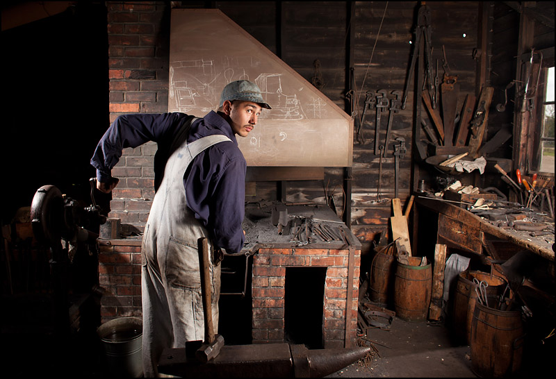 A blacksmith poses for a photo at the Ukrainian Cultural Heritage Village near Edmonton, Alta. on September 1, 2012. Photo by Ryan Jackson, ryanjackson.ca
