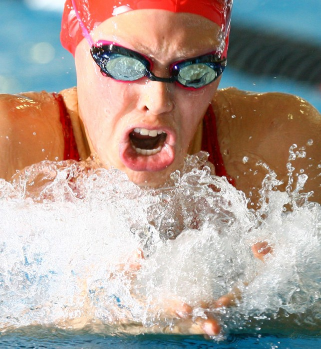 Team Yukon's Bronwyn Pasloski, 15,  during the girls 200m breaststroke event during the last night of swimming at the Western Canada Summer Games at Millennium Place in Sherwood Park Monday August 6, 2007.