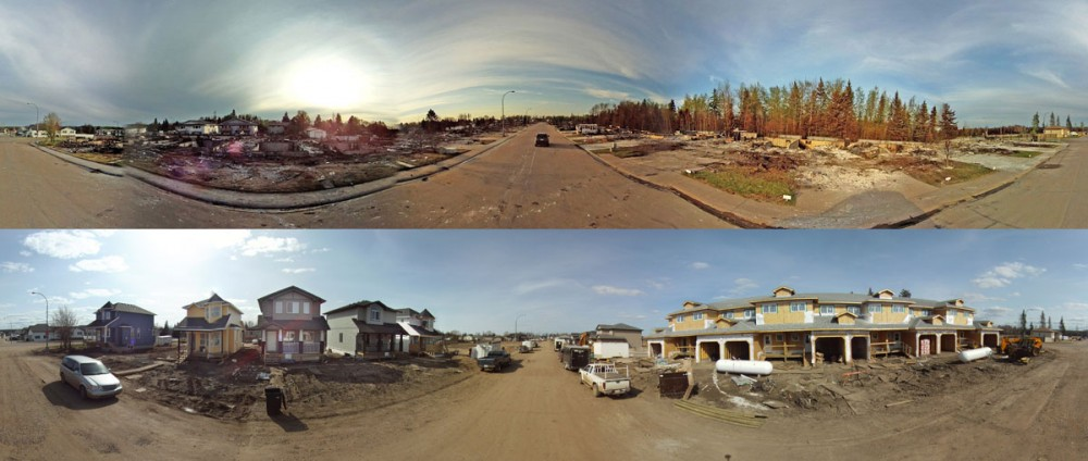 A panoramic view of the homes on Ê13th St. SE near 6 Ave. SEÊin Slave Lake, Alta. on May 23, 2011 (top) and May 2, 2012 (bottom). Nearly one-year after after a wildfire devastated the neighbourhood.