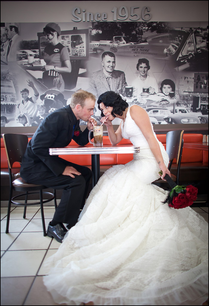 Marie Dann and Adrian Smith enjoy some A&W on their wedding day in Fort Saskatchewan, Alta. on August 25, 2012.   Photo by Ryan Jackson / ryanjackson.ca