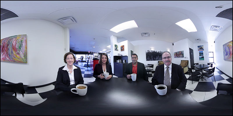 Wouldn't it be cool to sit down for a chat with party leaders for the 2012 Alberta provincial election? Well, now you can. By stitching together four separate videos, Edmonton Journal videographer Ryan Jackson puts you at the same table with the leaders of the Progressive Conservative, Wildrose, Liberal and NDP parties. You can pick which candidates you'd like to hear from on five hot topics in 360-degree interactive video. So grab a cup of coffee and go to edmontonjournal.com/360election  In this frame grab you can see (left to right) Alison Redford, leader of the Progressive Conservative Party, Danielle Smith, leader of the Wildrose Party, Raj Sherman, leader of the Liberal Party and Brian Mason, leader of the NDP at Cafe Rista in Edmonton on March 29 and 30th, 2012.  This image was created by stitching multiple frames together. (Ryan Jackson / Edmonton Journal)