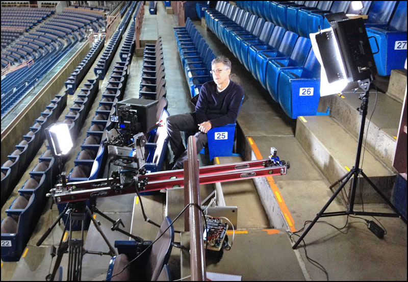 Jim Matheson in Rexall Place to talk about the NHL Lockout.I wanted to film him in Rexall place to illustrate the empty stadium seats and lack of hockey.