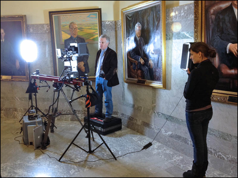 My setup for Graham Thomson in the Alberta Legislature talking about former Alberta Premier Peter Ligheed's death. I got Graham to stand on a box so that I could frame him with the portrait.