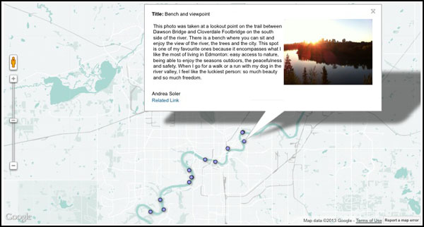 Edmonton Journal started this map for residents to share their river experiences and favourite places at http://www.edmontonjournal.com/news/rivermap/index.html