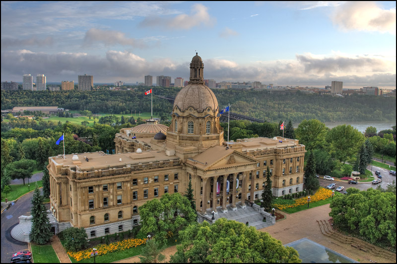 A view of the Alberta Legislature building minutes after a severe rain storm taken from the roof of the Annex building in Edmonton on August 23, 2012.   (Ryan Jackson / Edmonton Journal)