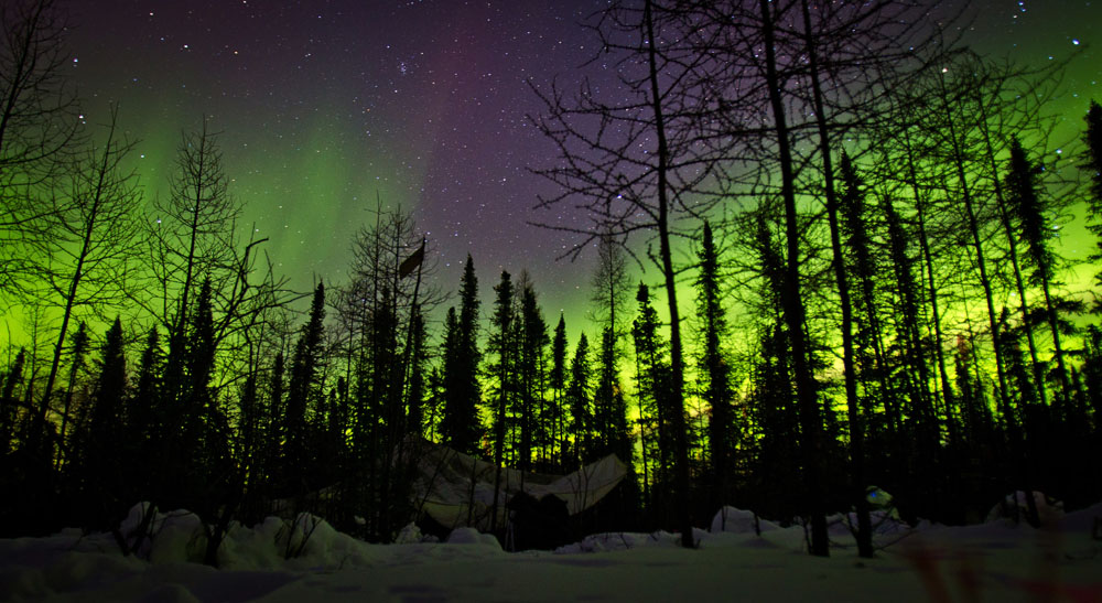 YELLOWKNIFE, N.W.T. : FEBRUARY, 14, 2012: — The Aurora Borealis lights up the northern sky above a military ten-man tent at Forward Operating Base Maiden 1 during Exercise Arctic Ram near Yellowknife on February 14, 2012. Approximately 1,500 Canadian so
