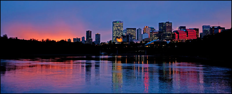 The Edmonton Skyline at night as seen from a boat on the North Saskatchewan River in Edmonton on October 1, 2012. Photo by Ryan Jackson / Edmonton Journal