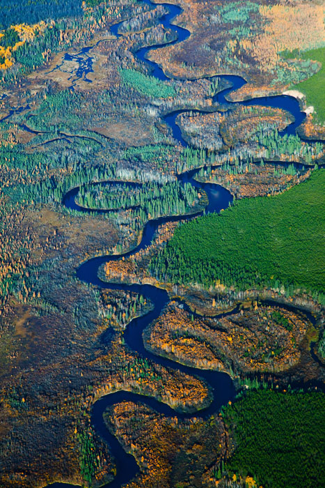 An aerial view near Fort Chipewyan, Alberta. 2010.