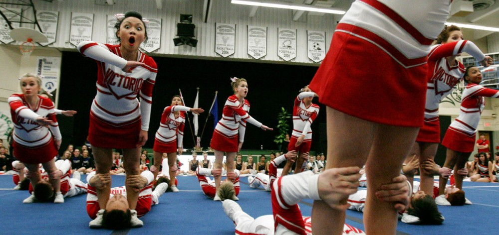 The Victoria high school co-ed cheer team competes during the Edmonton Zone High School 2008 cheerleading championships at Austin O'Brien High School.