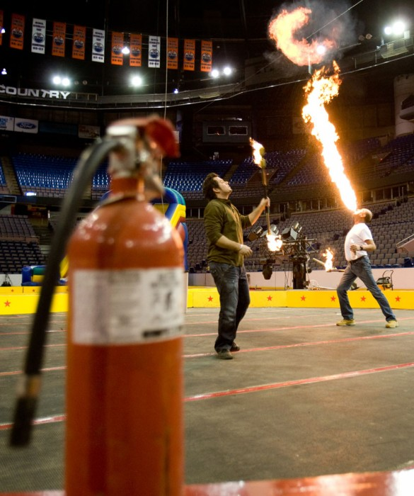 Sebastian Duval, left, and Ronald Gagne from Montreal practice their routines during setup for the 62nd annual Al Shamal Shrine Circus at Rexall Place in Edmonton on March 11, 2010.