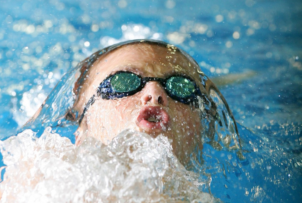 A swimming competitor warms up during the 2007 Western Canada Summer Games.