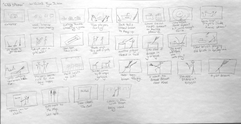 Here is my original storyboard. I had thought it would be cool to have the rocks talking and picking on the broom but then I decided that talking rocks would be confusing so I just used music.I spent hours writing and re-writing the script to make it as simple and manageable as possible.  It's way easier to fix your script before you shoot than after!