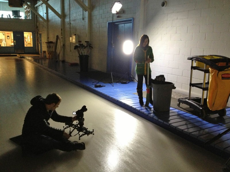 Jason Franson was helping me for the shoot and took this photo of me filming Carleigh Johnson with the broom.  I was able to pull the scene off with only two 500-LED light panels and one small 160-LED light panel to the right.