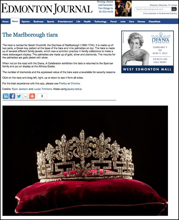 For a 360-degree view of Princess Diana's tiara go to http://www.edmontonjournal.com/life/diana-celebration/tiara/index.html