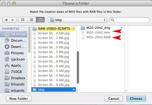 Run my other Applescript which changes the file creation date of the new .mov files to match the .RAW files of the same name. This works for batch folders.