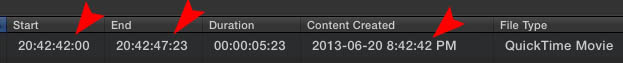 Now when we import our converted video files the date and timecode are correct!