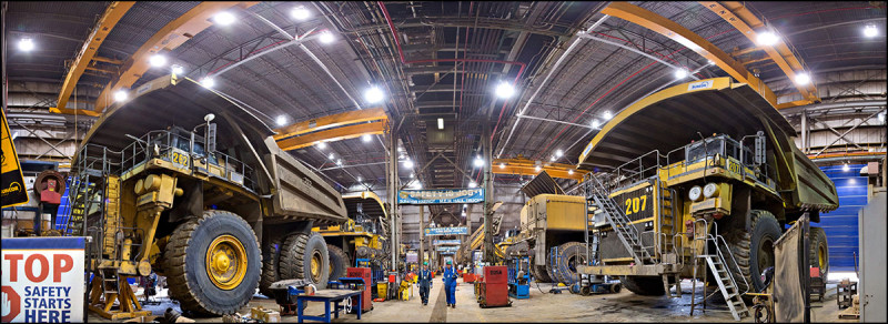 FORT MCMURRAY, ALTA.: June, 20, 2013:   A panoramic view of the heavy hauler maintenance shop which services all millennium mine equipment at Suncor's base plant oilsands operation north of Fort McMurray, Alta. on June 20, 2013. (Ryan Jackson / Edmonton Journal) This image was created by stitching multiple pictures together.