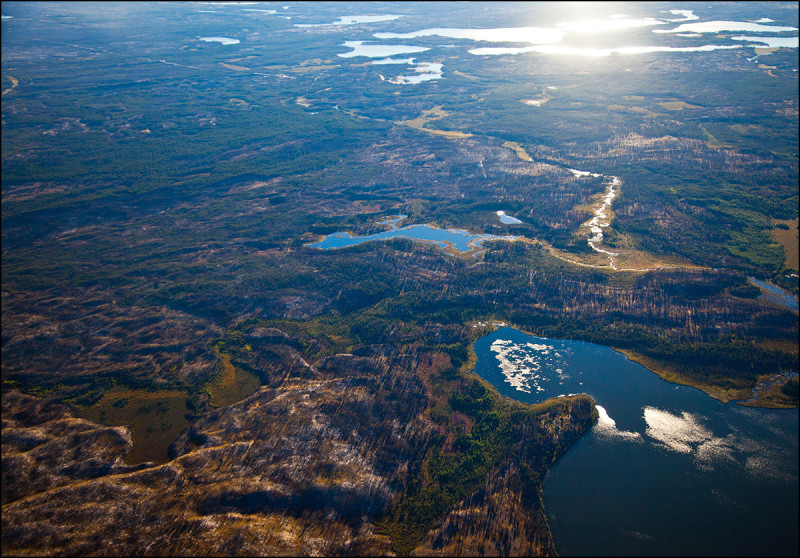 FORT CHIPEWYAN, ALTA.: SEPTEMBER, 11, 2013:  An aerial view of boreal forrest, muskeg and the Athabasca River delta system near Fort Chipewyan, Alta. on September 11, 2013..  (Ryan Jackson / Edmonton Journal)