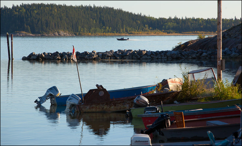 FORT CHIPEWYAN, ALTA.: SEPTEMBER, 11, 2013:  Fishing boats in Lake Athabasca on the shores of Fort Chipewyan, Alta. on September 11, 2013.  Established in 1788, Fort Chipewyan is the oldest settlement in Alberta.  (Ryan Jackson / Edmonton Journal)