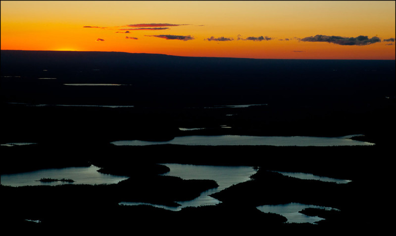 FORT CHIPEWYAN, ALTA.: SEPTEMBER, 13, 2013: A sunset aerial view of Edward's Lake and First Lake south of Fort Chipewyan in the boreal forest and muskeg or northern Alberta on September 13, 2013.   (Ryan Jackson / Edmonton Journal)