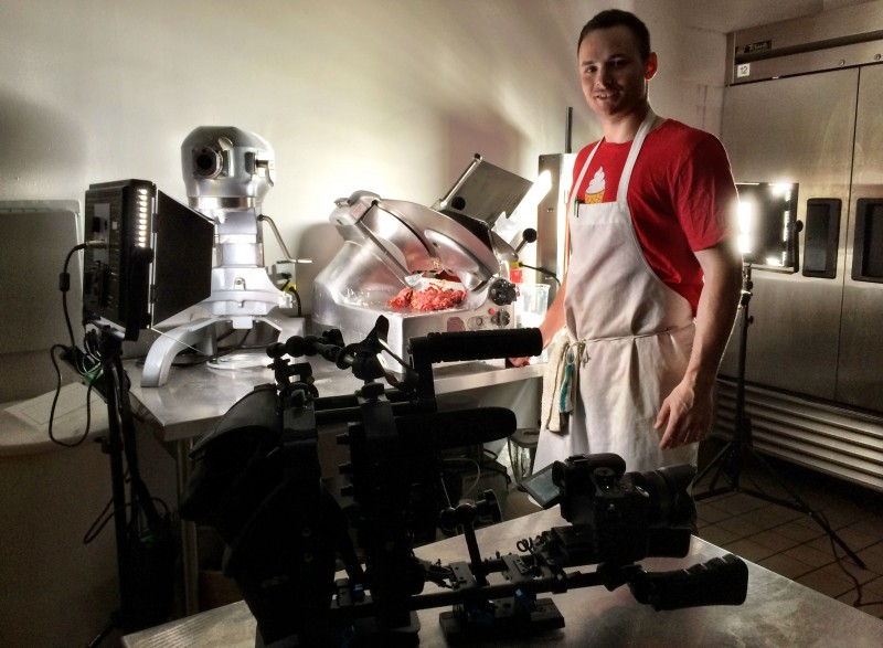 Lighting setup for meat slicing for the S'witch Food Truck video.