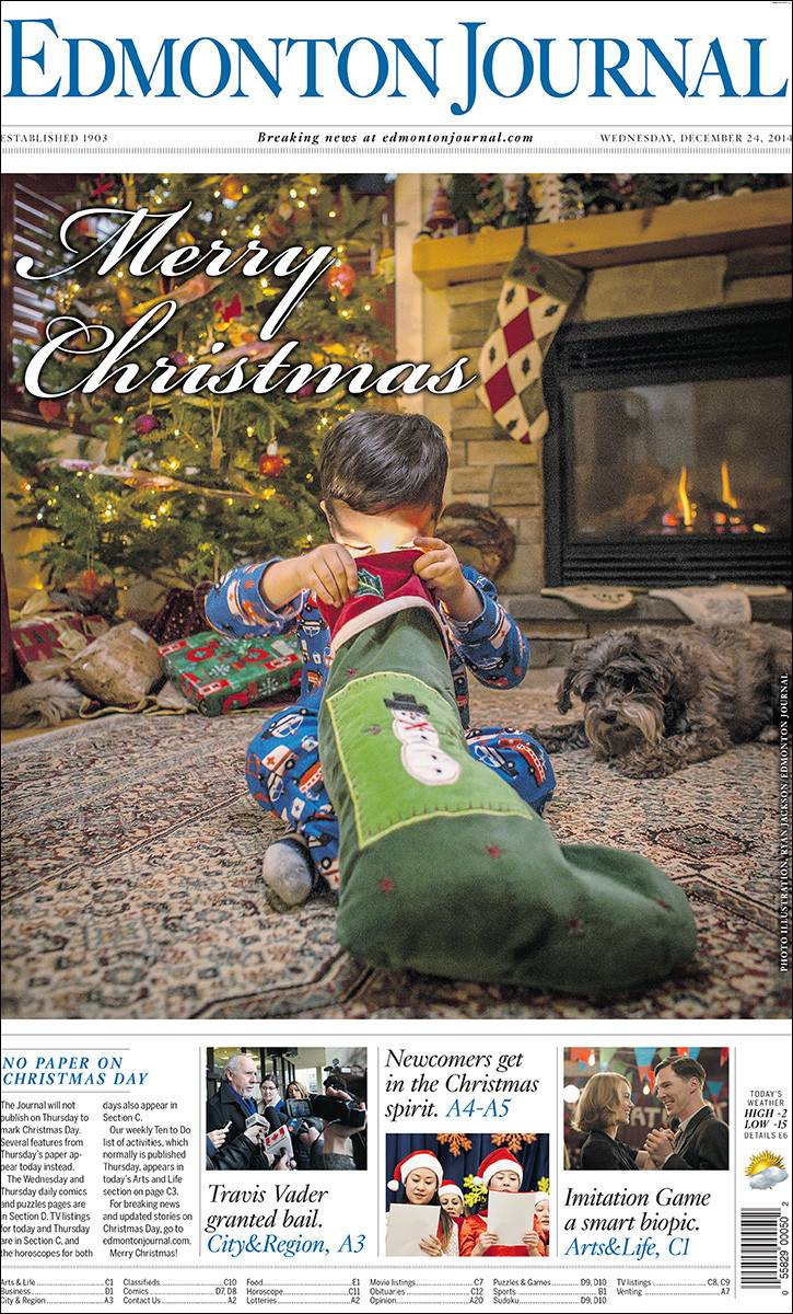 Front page Christmas illustration with two-year-old Arjun Swatch in Edmonton on December 23, 2014. (Photo by Ryan Jackson