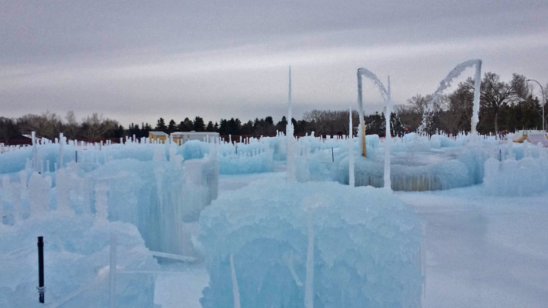Here is the ice castle being constructed on Dec. 8, 2015.