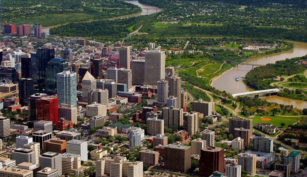 A view from The Bell Lightship blimp as it flies over Edmonton. 2006.