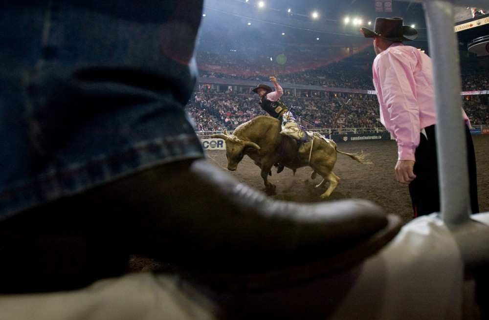 Garth Oldfield competes in the bull riding event at the Canadian Finals Rodeo at Rexall Place in Edmonton, AB on November 6, 2008.