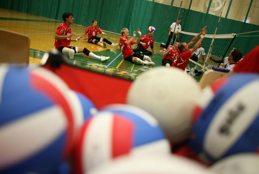 Team Canada's disabled sitting volleyball team plays a practice match against team USA at the U of A main gym. 2008.