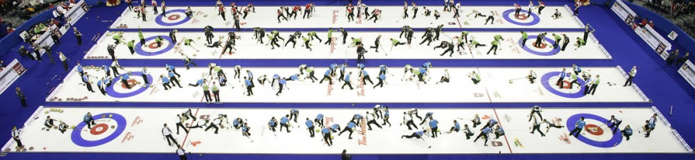A composite photograph of teams Ferbey, Middaugh, Koe, Simmons, Martin, Gunnlaugson, Stoughton and Howard competing on Dec. 6, the opening night of the 2009 Tim Hortons Roar of the Rings Canadian Olympic curling trials in Edmonton. Journal photographer Ryan Jackson took more than 300 photos in half an hour, then chose the best 48 to blend together for this composite.