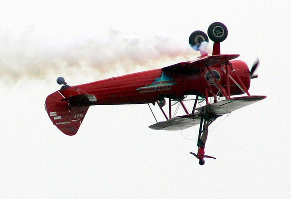 Carol Pilon does her Windwalker stunt at the Wetaskiwin Centennial Air Show July 29, 2006.