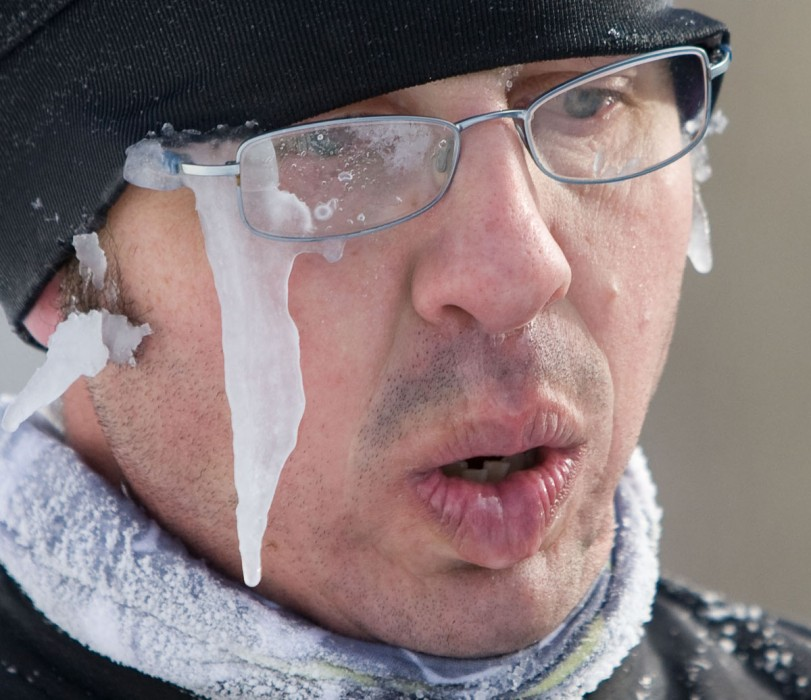 Sweat icicles hang from Herb Stark's face after completing the 31 kilometre Edmonton Journal Tour event during the Canadian Birkebeiner Ski Festival on February 13, 2010.