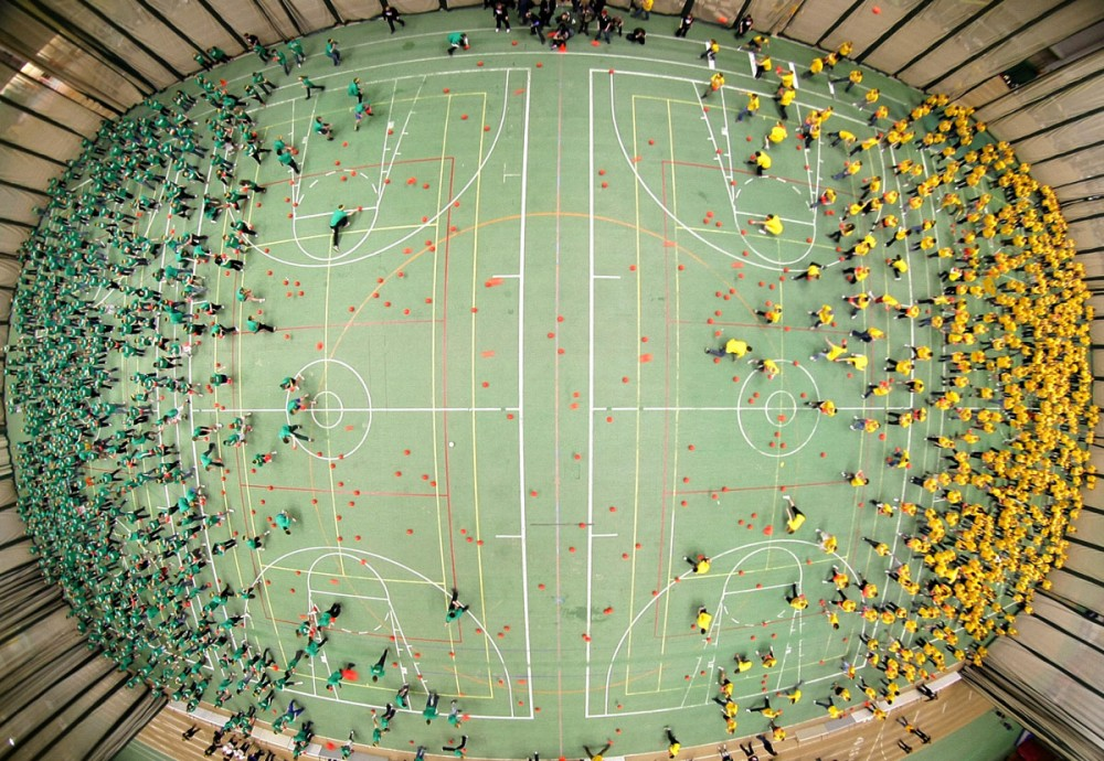 1,200 students, staff and faculty at the University of Alberta unofficially smash the Guinness World Record for most players in a single dodgeball game at the Universiade Pavilion in Edmonton, Alta. on February 5, 2010.